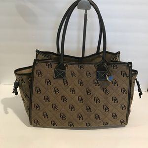 """Dooney and Bourke Brown tote bag  10""""H X 14 W"""